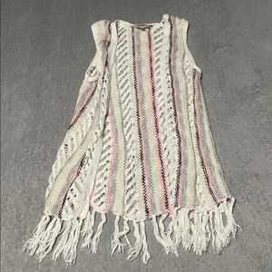 Justice sweater vest with fringe size 12/14. EUC. SO cute!